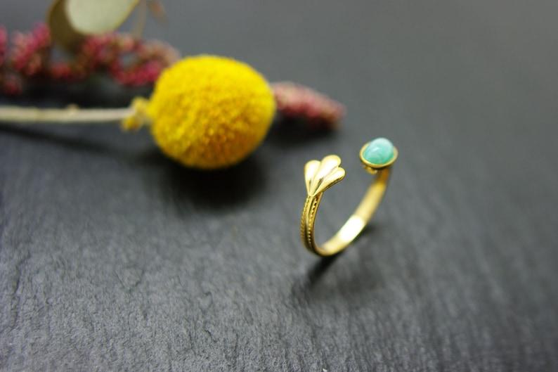 stone nacre boho Amazonite Gold shell ring adjustable from size 52 to 55 Golden gold