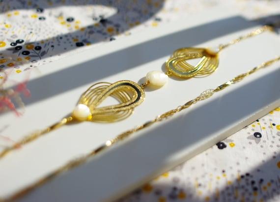 Sautoir art déco nacre laiton doré à l'or fin