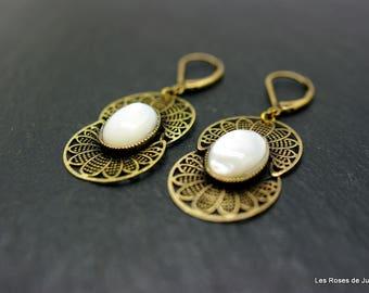 Earrings bronze art deco earrings art deco mother of Pearl, semi precious stones