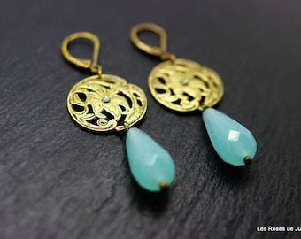 Earrings art deco earrings art deco, amazonite, bronze, semi precious stones