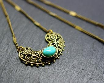 Bronze art deco pendant, pendant, mother of Pearl, turquoise, semi precious stones