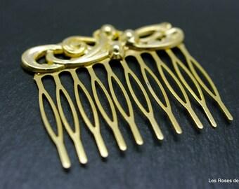 comb flower art deco gold, comb, gold filled