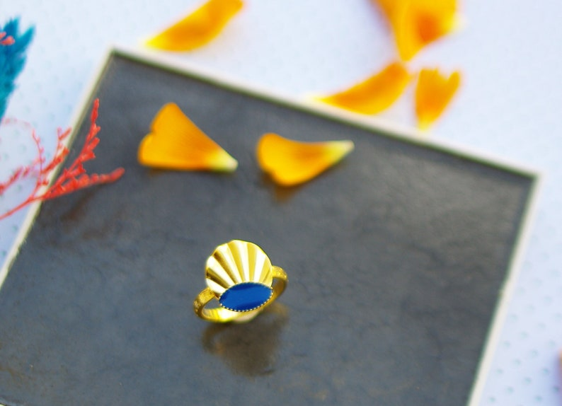 Nancy ring gold cold enamel classic blue jewelry boho size 53-54 EN