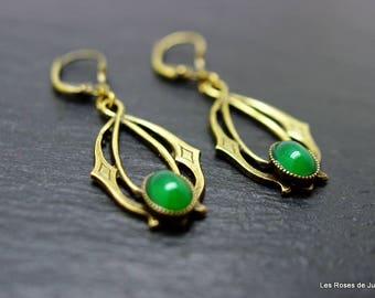 Earrings art deco earrings art deco, semi precious stones