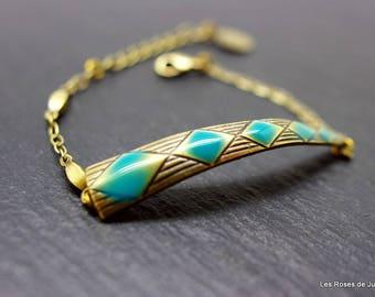 Bracelet art déco losanges, bijoux émaillés, bronze
