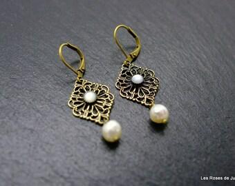 Earrings bronze art deco earrings art deco mother of Pearl bead, labradorite, semi precious stones