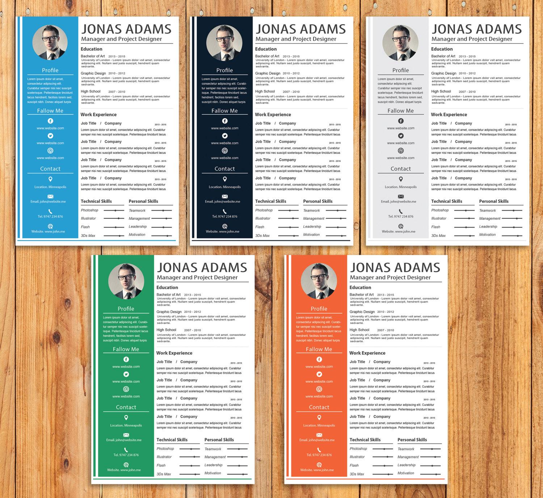 Plantilla de currículum personalizado de 5 colores plantilla | Etsy