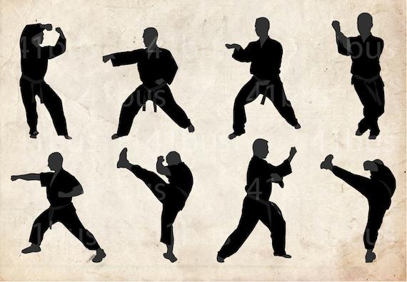 Karaté Sport Clip Art Silhouette, 36 png Clipart, téléchargement immédiat, arts martiaux clipart