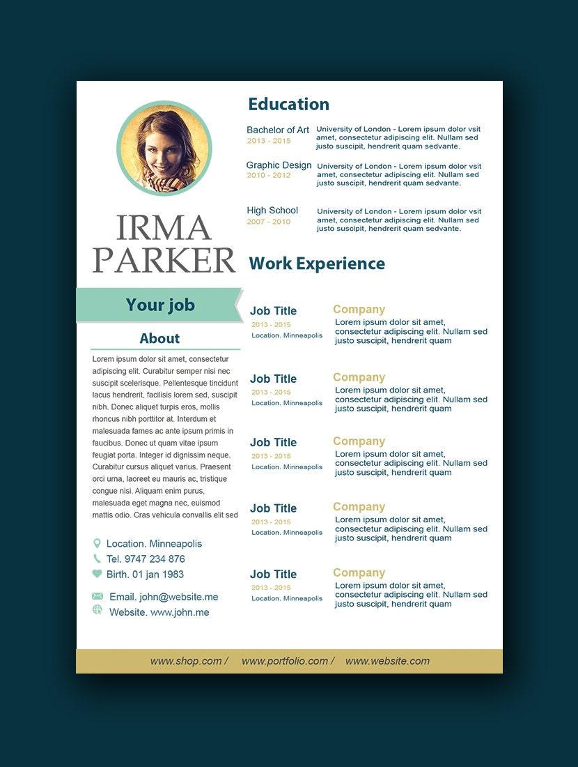 Plantilla de curriculum vitae personalizada página Extra de | Etsy