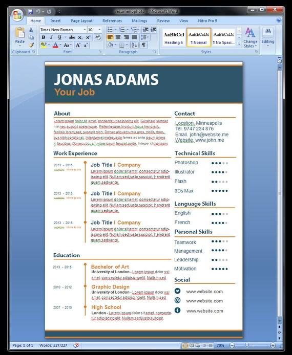 Modèle De Curriculum Vitae Personnalisé Modèle De Cv Modèle Cv Word Photoshop Cv Modèle Ai Cv Modèle Modèle De Curriculum Vitae Personnalisé