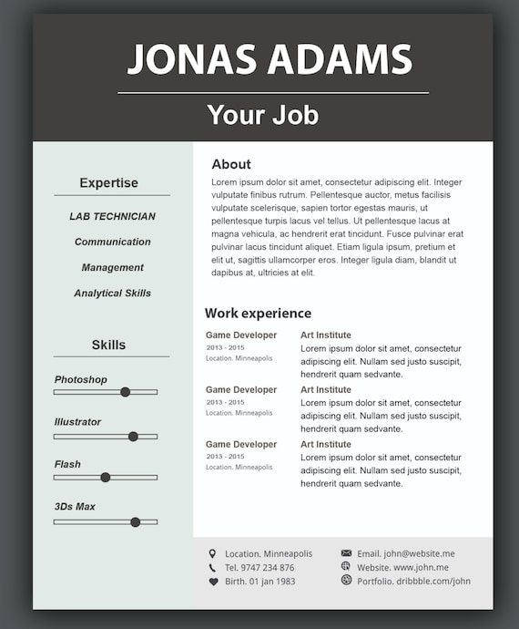 Custom Resume Template Cv Templateword Resume Template Etsy