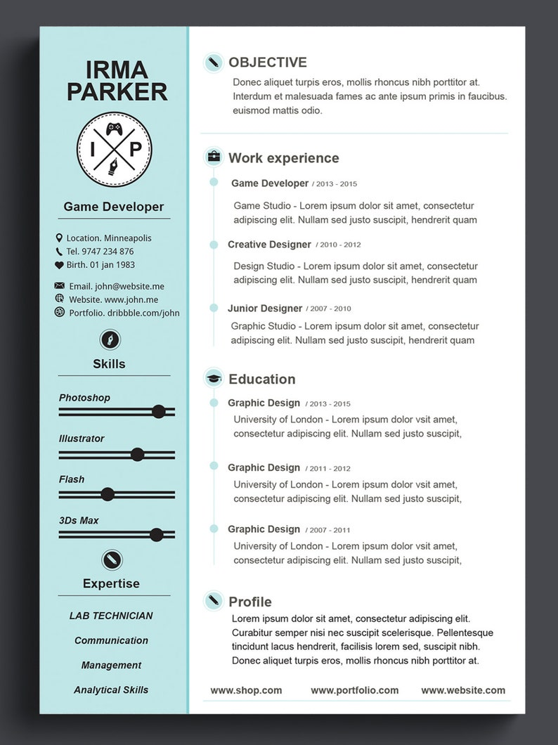 Custom Resume Template CV Photoshop