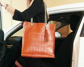 Handmade Classy Elegant Genuine Calf Leather Bag. Big Size Bag with Croco  Pattern 9d18402d43db8