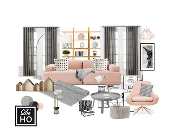 Interior Design Service online, eDesign. Complete 1 room design with scaled plan, moodboard and Shopping list. Easy and affordable