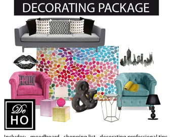 Interior Decorating Package, Virtual decorator service, e-design - Living room ideas - Any room in your home. Home decorating service.