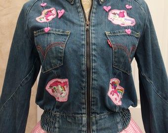 Customised Up Cycled Denim Jacket with Unicorn Applique size medium