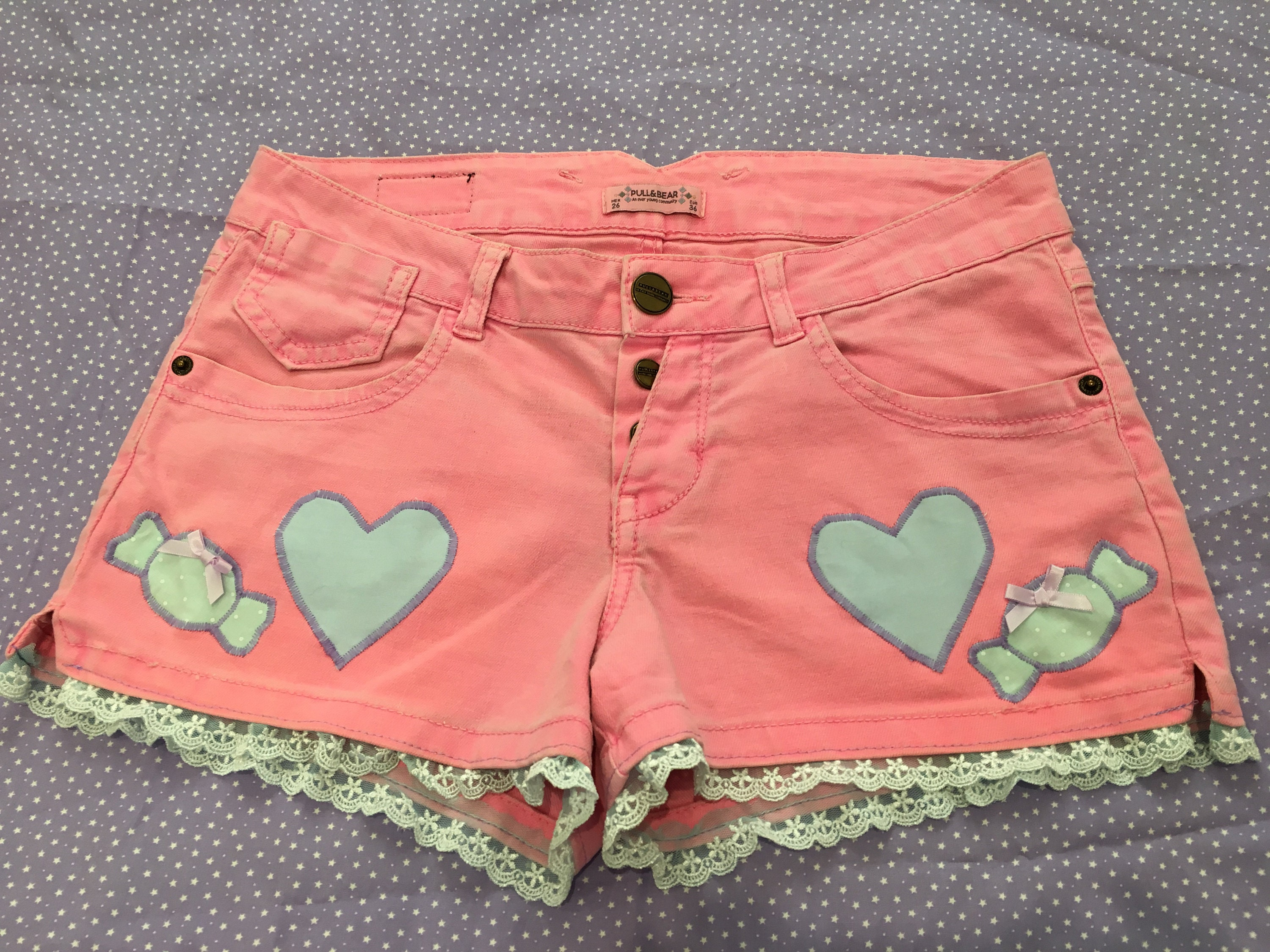 Up Cycled Customised Hearts and Candy Mini Shorts UK size 8  2a803bacb
