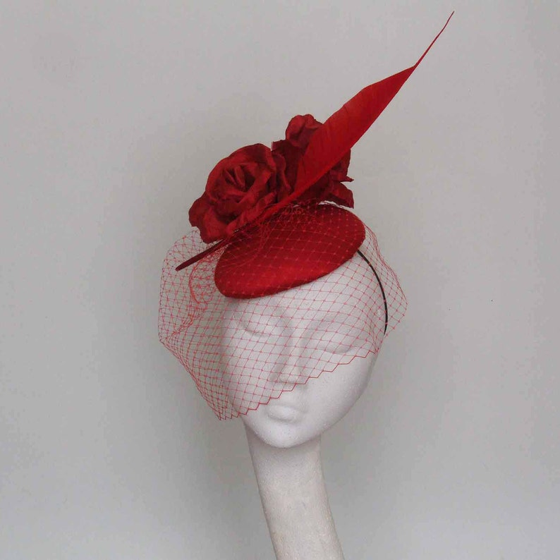 928bd575 Red Silk Fascinator Ascot Hat Mother of the Bride Hat | Etsy