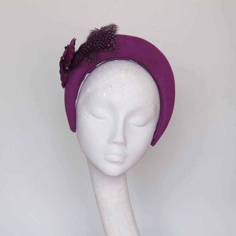 81a1aa7f63eb6 Felt Halo Style Fascinator Red Purple Winter Wedding