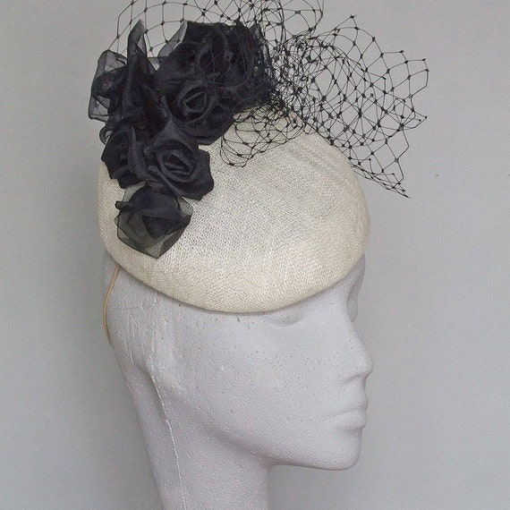 Ivory and Black Fascinator Mother of the Bride Hat Wedding  2aea6919441