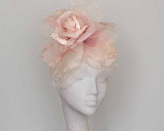 Pale Pink Silk Flower Fascinator,  Kentucky Derby Headpiece, Race Day, Wedding,