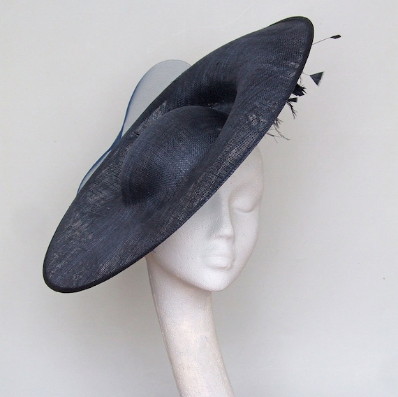 Navy Blue Disc Fascinator Kentucky Derby Hat Royal Ascot Hat  52c65ae36f2