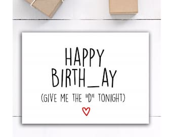 Funny Sex Happy Birthday Card For Boyfriend Gift Him Husband I Love You Naughty