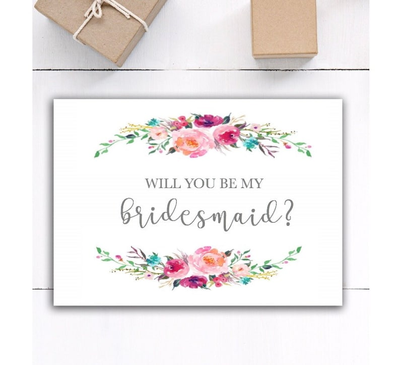 Floral Bridesmaid proposal will you be my bridesmaid card wedding bridesmaid gift Will you be my bridesmaid gift card for bridesmaid