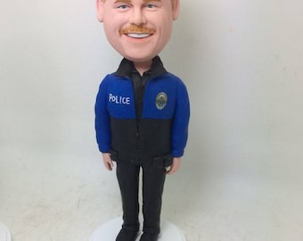 Policeman Police Personalized Bobble Head Birthday Cake Topper Boyfriend Gift Husband Father Son Christmas