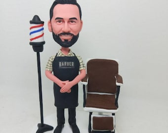 Barber Personalized Bobble Head Clay Figurine Boyfriend Gift Son Gift Father Gift Husband Gift Boyfriend Birthday Gift Barber Gift Barber BF