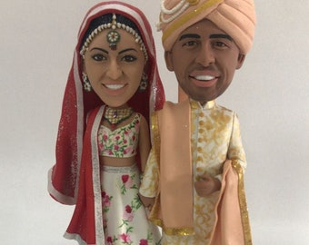 Indian Wedding Cake Topper Indian Personalized Wedding Cake Topper Indian Wedding Bobble Head Indian Traditional Wedding Indian Cake Topper