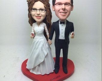 Magician Groom Custom Wedding Personalized Wedding Cake Topper Bobble Head Clay Figurines Based on Customers Photos Wedding Cake Topper Gift