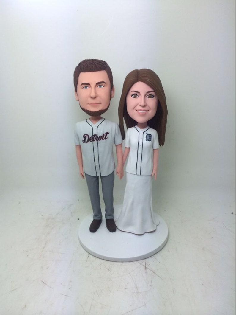 low priced 3f111 f93dd Detroit Tigers Custom Bobble Head Girlfriend Boyfriend Gift Personalized  Clay Figurine Baseball Wedding Cake Topper Tigers Personalized Gift