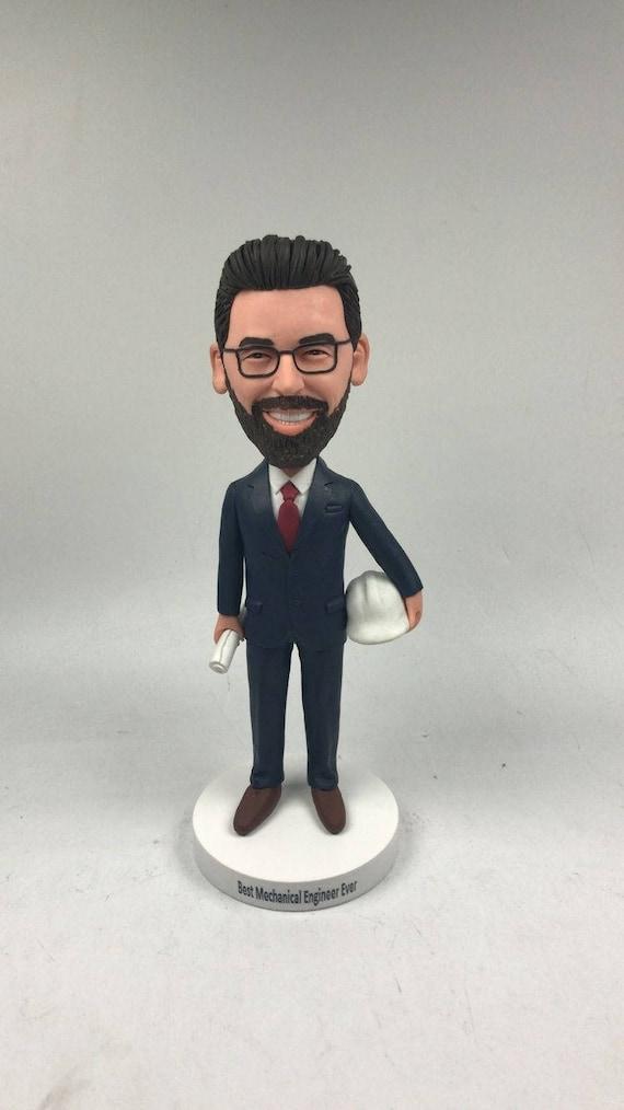 Mechanical Engineer Personalized Engineer Custom Bobble Head Engineer Gift Engineer Clay Figurines Engineer Birthday Husband Boyfriend Gift