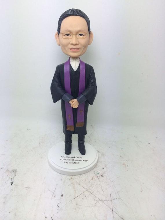 Male Officiant Preist Pastor Minister Reverend Rev Father Personalized Gift Preist Bobble Head Preist Birthday Cake Topper Preist Bday Gift