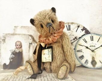 "Ooak teddy bear, artist Teddy Bears ""Oscar"", 26 cm with two wooden trailers and certificate, vintage, shabby"