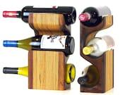 Walnut Wood Wine Rack | Tabletop Wine Rack | Free Standing Wine Rack | 3 Bottle Wine Rack | Walnut Wine Bottle Storage | Small Wine Rack