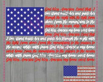 God bless America American Flag SVG DIY cut svg jpg vector png file Cricut cutting file, Stars America lyrics 4th of July Patriot, Patriotic