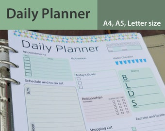 day planner printable daily planner editable daily organizer etsy