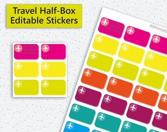 Planner Stickers Half Box, Editable Planner Stickers, Travel Stickers, Half Box Stickers, Instant Download