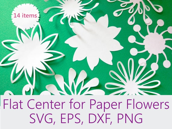 Flat Center For Paper Flowers Peper Flower Parts Template Etsy