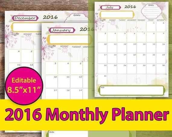 monthly planner printable 2016 monthly planner printable etsy