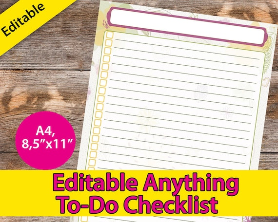 To Do List Printable Editable