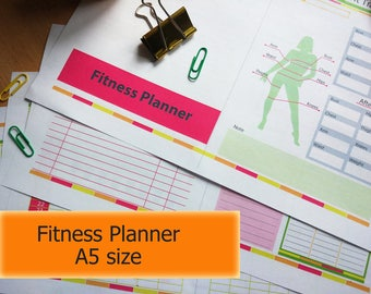 Fitness Planner A5, A5 Planner, Fitness journal, weight loss journal, A5 fitness planner, Fitness log, weight loss planner PDF