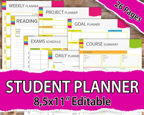 graphic relating to Printable College Student Planner titled College or university college student planner 2019, College student Planner 2019, University student Planner Printable, University planner, 2019 educational planner