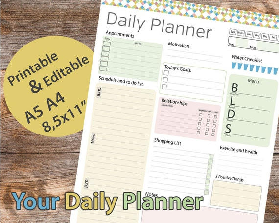 Day planner Printable Daily Planner Editable Daily Organizer | Etsy