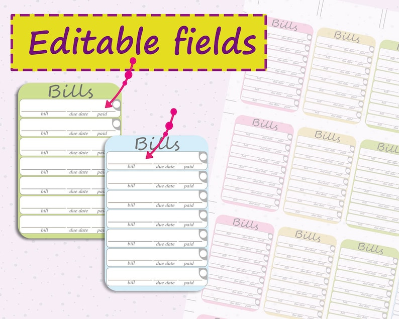 Bills due planner stickers printable editable stickers image 0