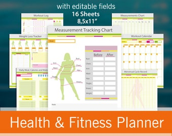 """Fitness planner 16 useful pages with editable fields, Weight loss journal, Weight Loss Planner, Workout planner printable 8.5 x 11"""" PDF"""