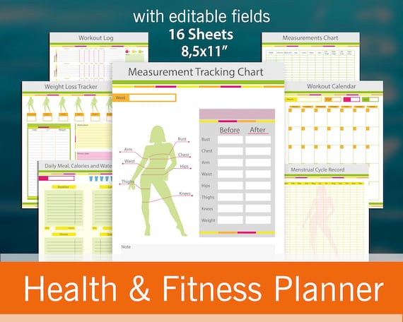 fitness planner 16 useful pages with editable fields weight etsy
