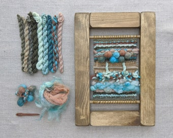 Weaving Kit: Learn to Weave Beginners Craft Kit, Blue Wool